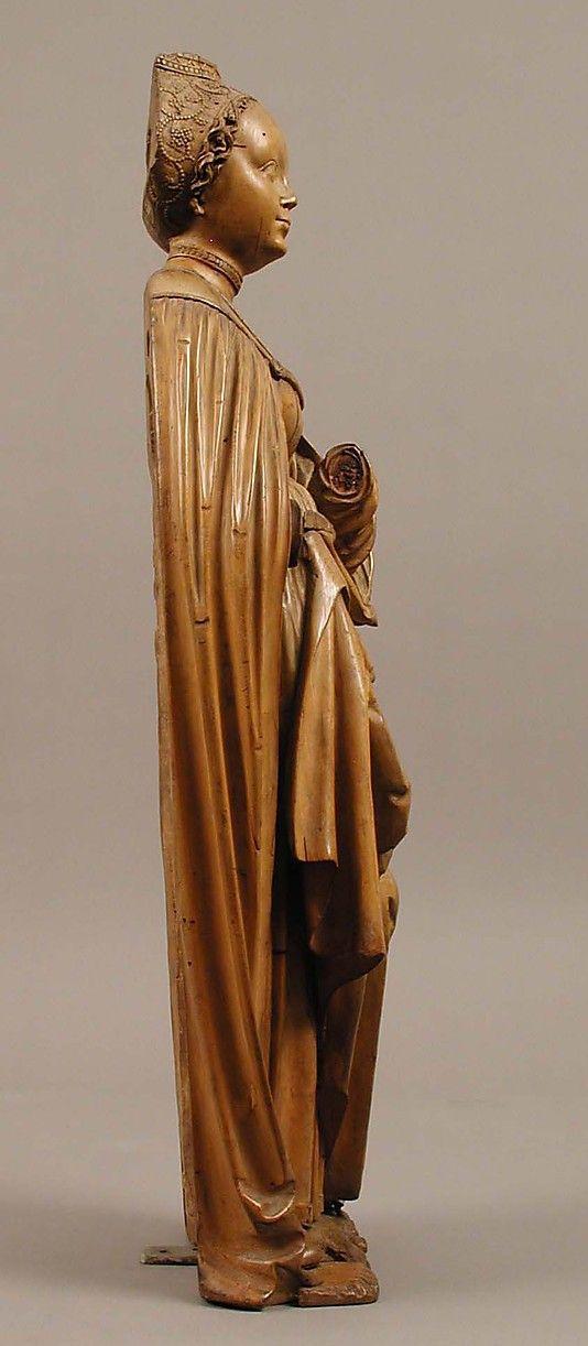Sainte Barbe. Date: ca. 1510 Culture: Allemand Medium: Tilleul Dimensions: Dans l'ensemble: 24 1/8 x 8 13/16 x 5 3/16 po (61,2 x 22,4 x 13,2 cm)