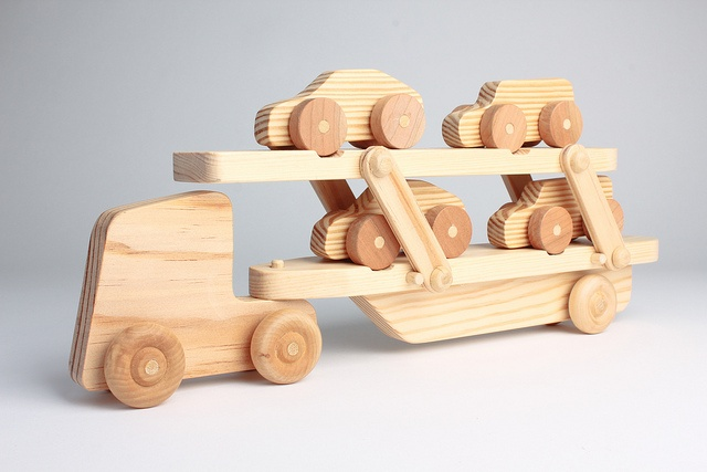Hand-Made Wooden Toy Car Transporter [Fully loaded] by fellowcreative, via Flickr