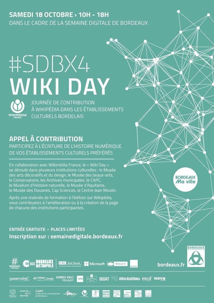 WikiDay bordelais : un edit-a-thon simultané dans 10 lieux différents [wiki-bordeaux_mba_affiche]