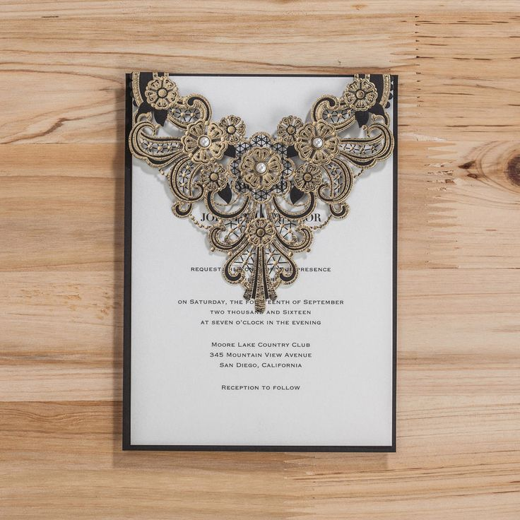 Personlize Black And Gold Laser Cut Weding Party Invitations With Envelope Seals in Home, Furniture & DIY, Wedding Supplies, Cards & Invitations | eBay