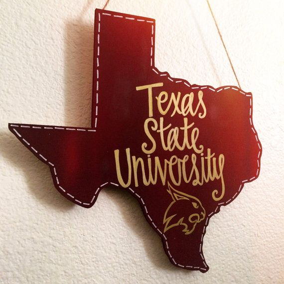 Texas State University Wooden Hanging by KuskisCalligraphy on Etsy