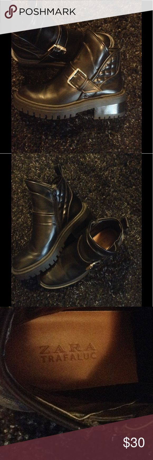 Zara Trafaluc Moto Boot Black Moto boot with thick sole, side zip with buckle accent size 37 euro, 7 US Zara Shoes Combat & Moto Boots