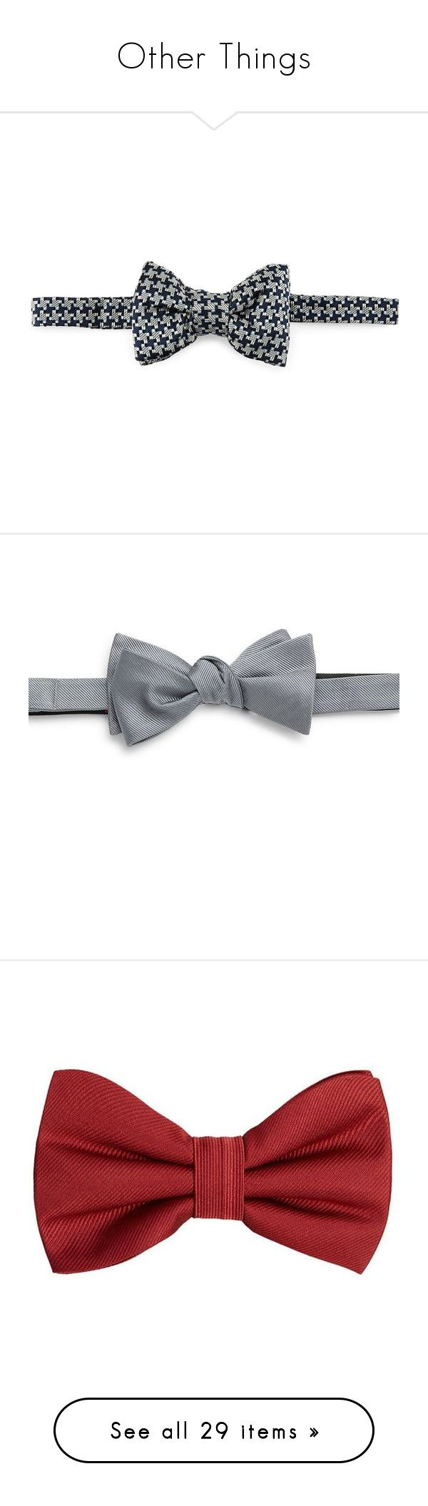 """Other Things"" by rose-chan-needs-a-life ❤ liked on Polyvore featuring men's fashion, men's accessories, men's neckwear, bow ties, blue, mens ties, mens silk ties, mens bow ties, mens wide ties and mens silk bow ties"