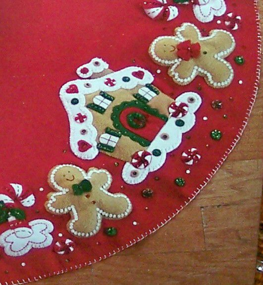 Felt Gingerbread Tree Skirt I made a felt tree skirt years ago and still use it then made felt Christmas stockings for my family  Good memories  My children loved that mama made things we used as holiday decorations instead of buying things.