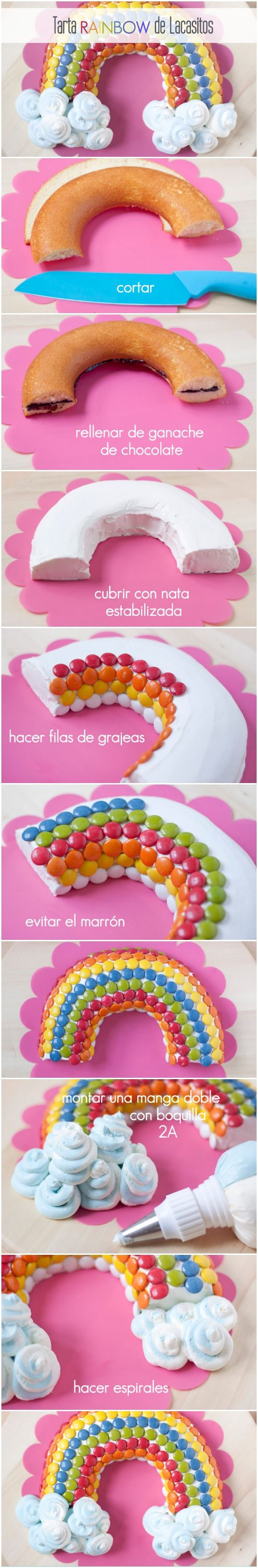 Fototutorial para hacer una tarta arco iris de lacasitos, fácil, colorida y muy vistosa! http://www.azucarillosdecolores.com/2014/09/tarta-rainbow-de-lacasitos.html