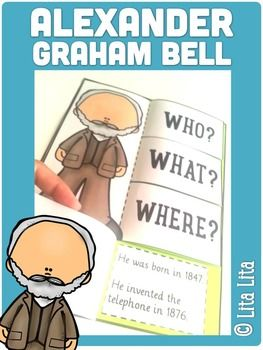 FREE GRAHAM BELL foldable! English&Spanish. Cute concept for history study in primary grades.