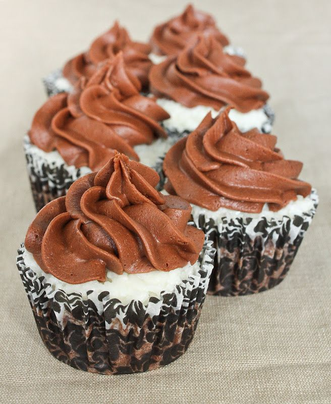 Coconut Topped Buttermilk Brownie Cupcakes with Chocolate Buttermilk Frosting