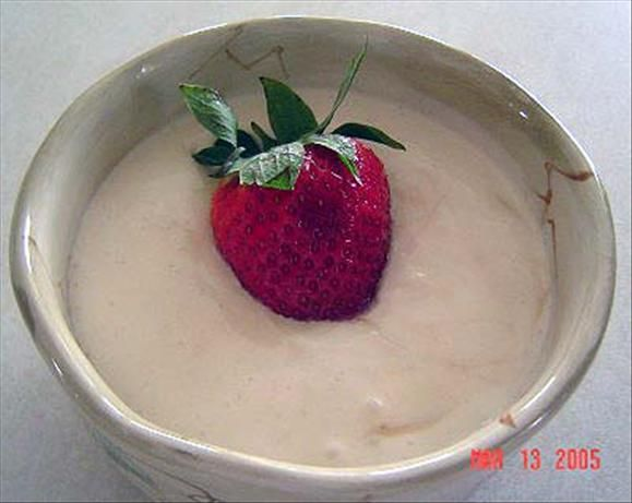 Sour Cream Fruit Dip from Food.com:   This is a great change from the usual fruit dip recipes and it is so easy to make with only three simple ingredients. It is a recipe from my niece who got it from a friend who prepares fruit trays for a major grocery store. The preparation time is an estimate of the time it takes to prepare the fruit.