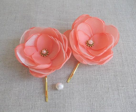 Coral Red Blush Pink small fabric flowers by ZBaccessory on Etsy, $13.00