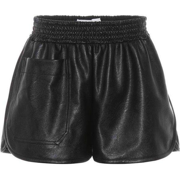 Stella McCartney Faux Leather Shorts ($535) ❤ liked on Polyvore featuring shorts, black, stella mccartney, vegan leather shorts, stella mccartney shorts, faux-leather shorts and leather look shorts