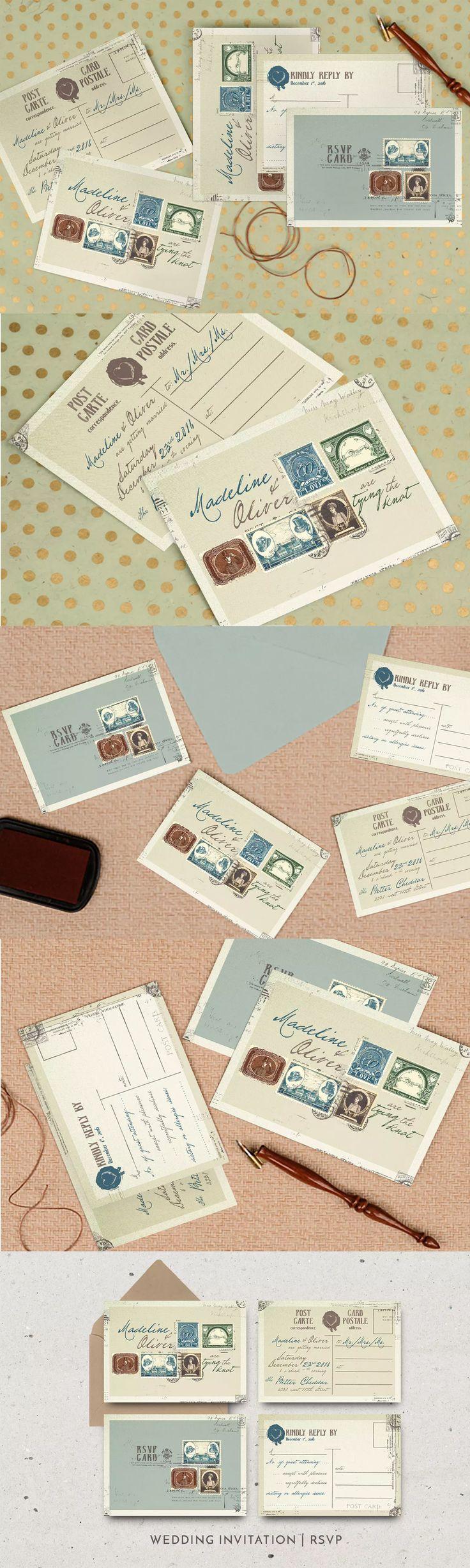 Vintage Stamp Wedding Invitation Template PSD Best