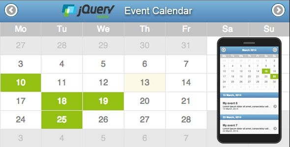 Jquery Mobile Event Calendar . Jquery mobile based event calendar. Utilizing the powerful Jquery mobile framework to create and display an event calendar for your mobile or mobile web