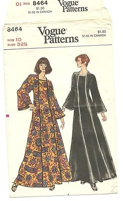 Vintage 70s Vogue #8464 Boho Maxi Dress Caftan Pattern Uncut B32 1/2