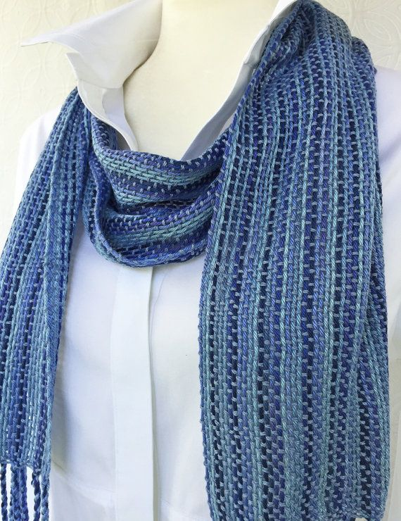 Violet Hand Woven Scarf - Woven Scarf - Handmade Scarf - Blue Scarf - Cotton Scarf - Summer Scarf - Unisex Scarf - Christmas Gift