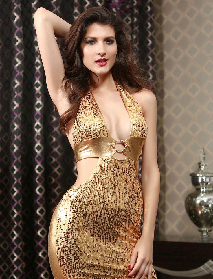 Gold Sequin Vinyl Club Wear