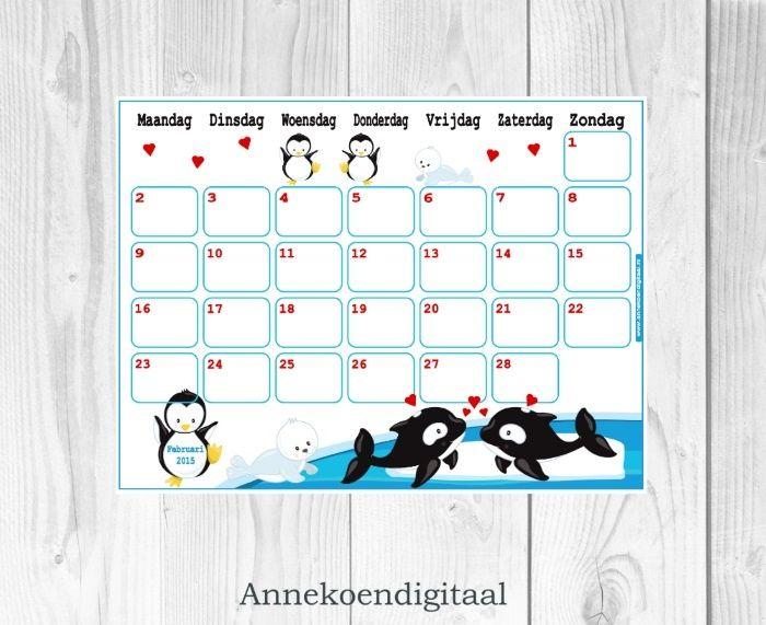 Februari 2015 kalender om zelf te printen. Handig iedereen in huis een eigen kalender!
