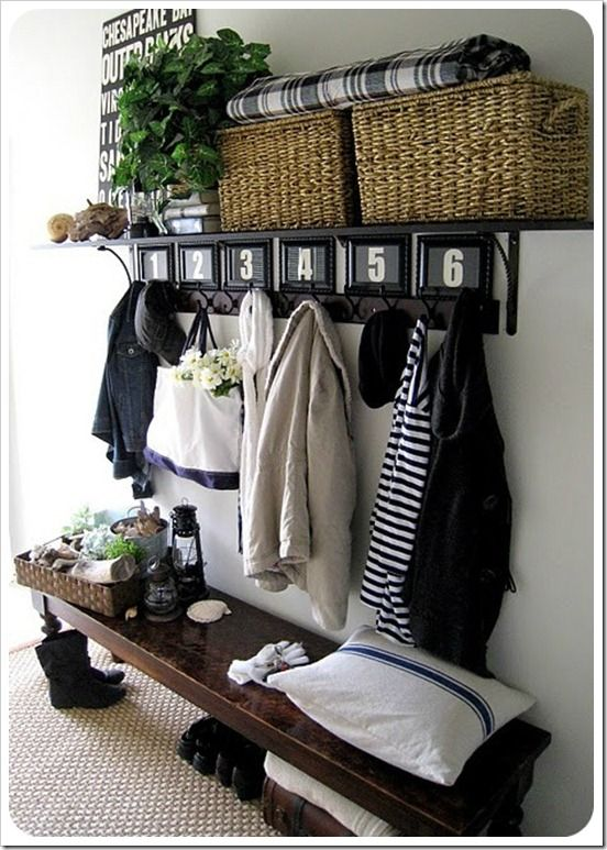 Mud room: Provide a space for people to sit while getting on the winter gear. Make a long bench from reclaimed wood and tuck boots and shoes under it. Add a simple piece of painted wood with hooks for a shelf, and put crown molding on top of it for a shelf!