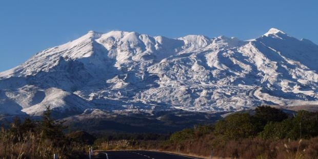 Mt Ruapehu.  Looking up to Whakapapa from the bottom of the Bruce Road.  A visit to the snow is always fun.