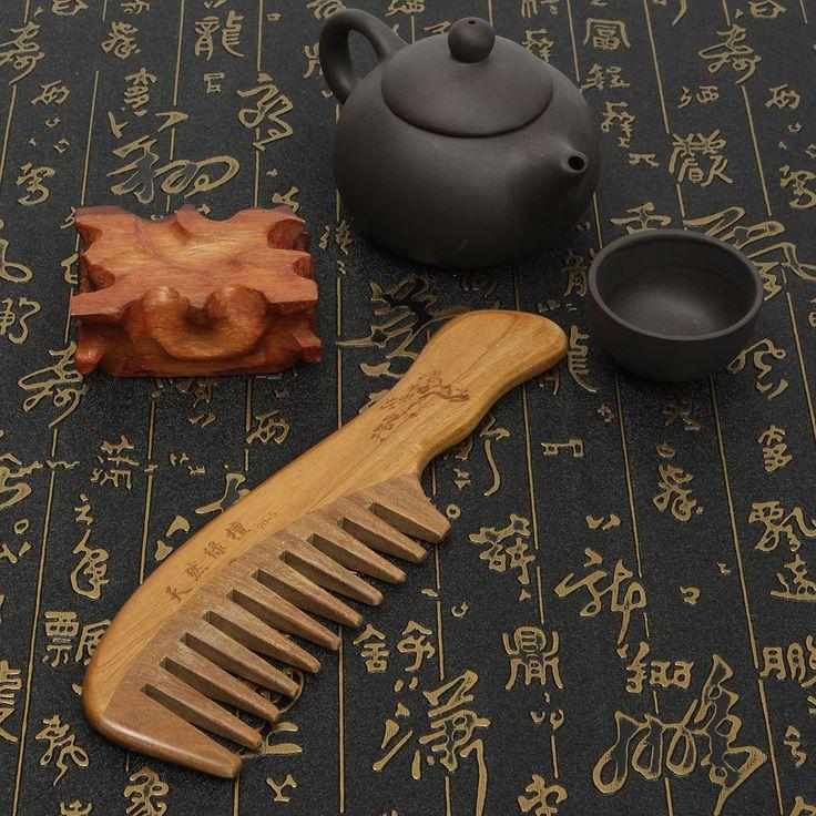 Природные сандалового дерева нет-статический ручной работы широкий зуб деревянный гребень Массаж уход за волосами в banggood