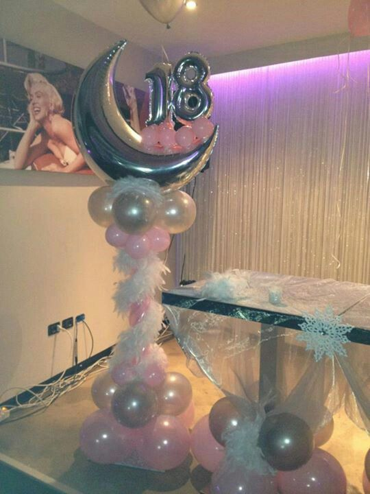 Crescent Moon Column with Feather Boa - Mini Megaloons Birthday - ala Marilyn Monroe