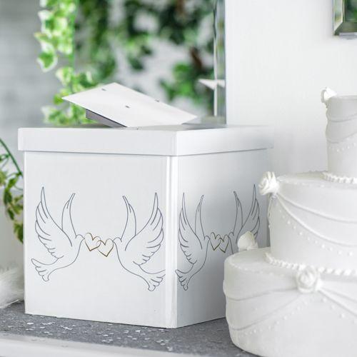 Briefbox / Geschenkbox 'Hochzeitstauben' weiß 20 x 20 cm