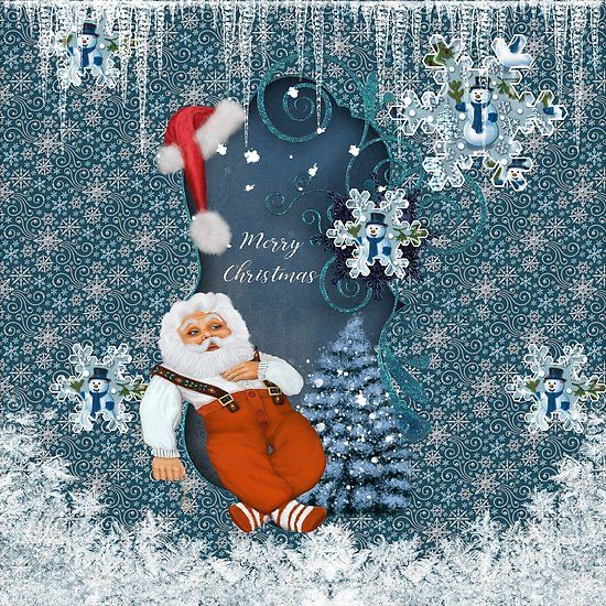 Funny Santa Claus with snowman