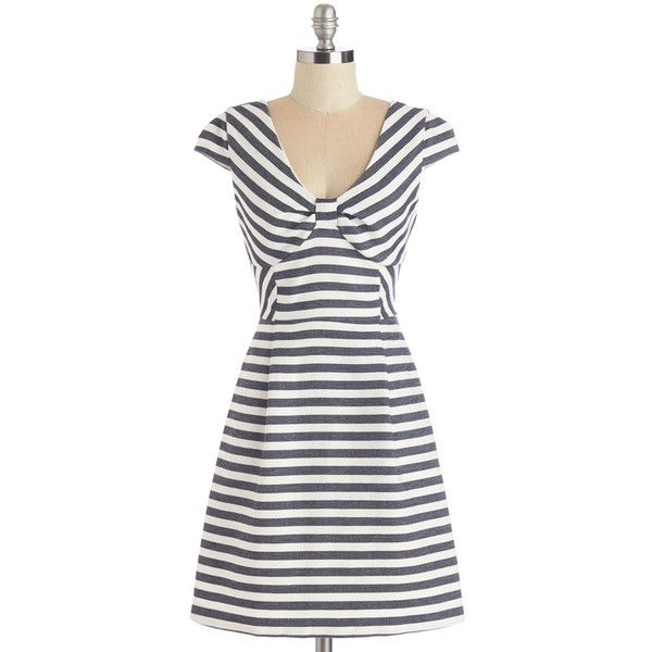 ModCloth Nautical Mid-length Cap Sleeves A-line Sailed It! Dress ($41) ❤ liked on Polyvore featuring dresses, apparel, fashion dress, varies, white cap sleeve dress, white mid length dress, nautical striped dresses, cap sleeve dress and white a line dress