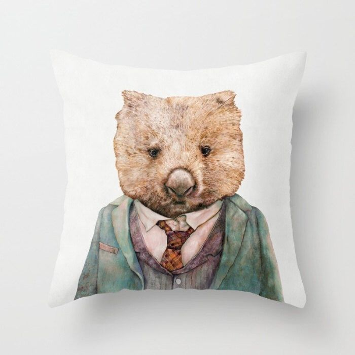 Wombat Throw Pillow, Cushion Cover, Decorative Pillow, Animal Pillow, Animal Cushion, Nursery Decor, Australian Animal, Wombat Cushion by AnimalCrew on Etsy https://www.etsy.com/listing/231986017/wombat-throw-pillow-cushion-cover
