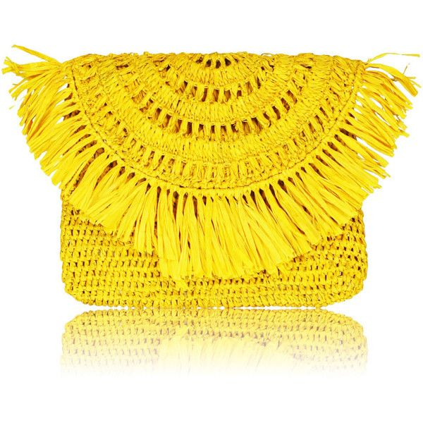 Mia mini clutch (€75) ❤ liked on Polyvore featuring bags, handbags, clutches, print purse, miniature purse, fringe handbags, yellow purse and mini purse