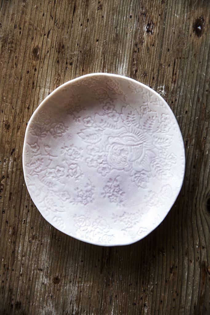 Te Rosa Handmade Porcelain side plates - €22.00. #teatime #handmade #handmade  http://www.dishesonly.com/products/te-rosa-handmade-porcelain-pink-side-plates