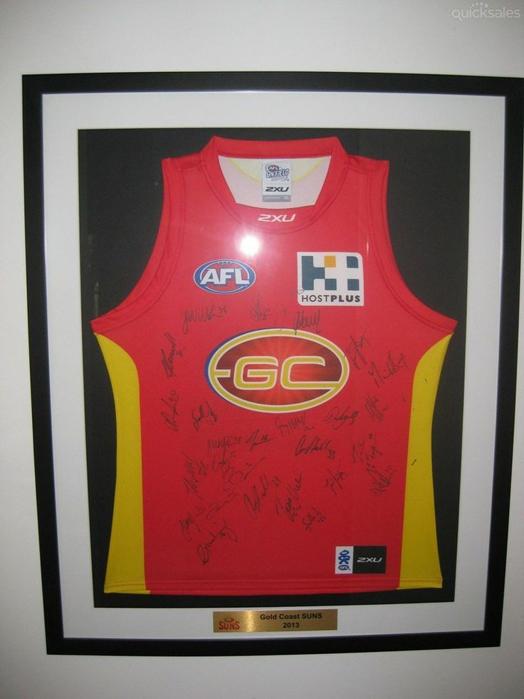 GOLD COAST SUNS JERSEY FRAMED & SIGNED  BY ALL PLAYERS AND COACHES 2013 starting @ $110.00 #parismattRBWH #Charity