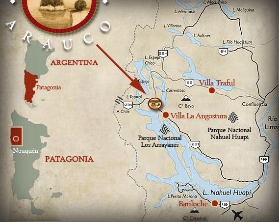Acá queda Puerto Arauco. A pocos kilómetros del centro de Villa La Angostura en Neuquén.