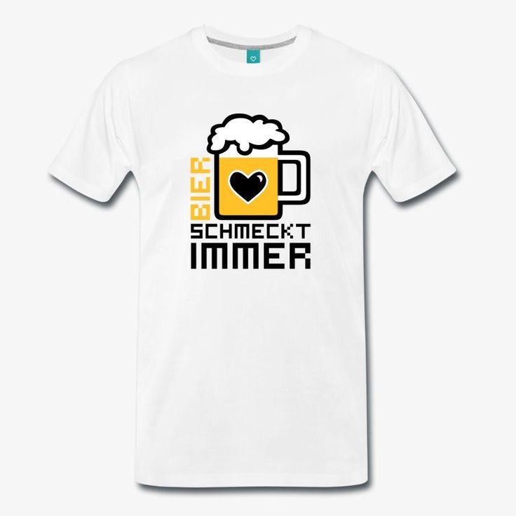 Bier Schmeckt Immer Fun Männer T Shirt Männer Premium T Shirt   Weiß