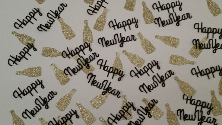 Gold glitter champagne bottles  and Happy New Year table confetti. Black and gold New Year's party table confetti  or invitation fillers by Garlandsandgifts on Etsy
