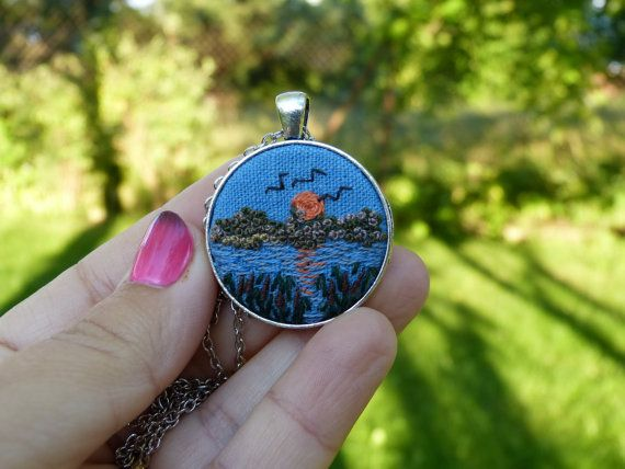Landscape necklace Sunset Autumn  Embroidered pendant Embroidery countryside Embroidered jewelry necklace needle work