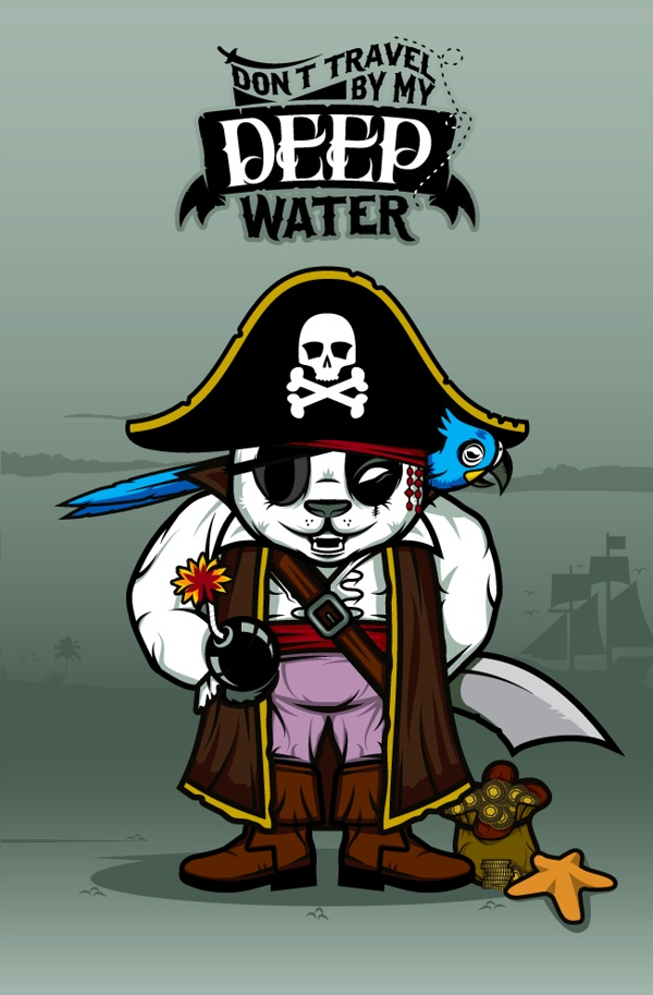 """""""DOKU"""" The Giant Panda  PIRATE  Don't travel by my deep water."""
