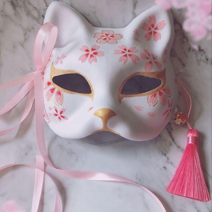 Japanese fox handpainted cosplay mask kuru store