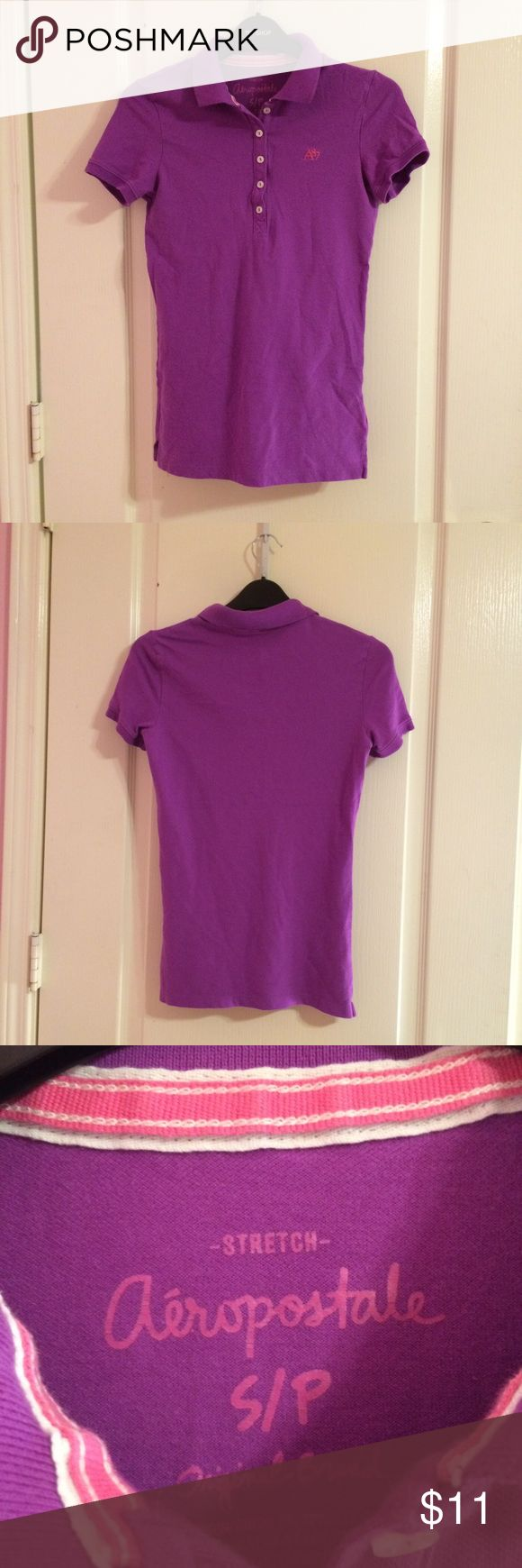 Aeropostale purple polo shirt Aeropostale purple polo shirt. Size small. Worn a few times and in great condition. Ask for try on pics or bundles. All items cheaper on merc. Aeropostale Tops Tees - Short Sleeve