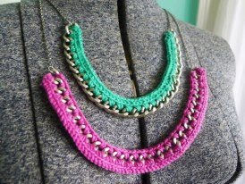 collar con cadenas: Crochet Ideas, Collar, Crochet Jewelry, Diy Jewelry, Crochet Necklace, Diy Jewellery, Necklaces, Craft Ideas, Diy Crochet