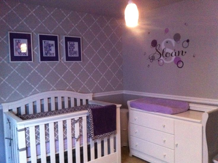 Purple And Grey Baby Room