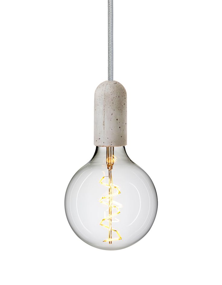 Rustic concrete light - cord in Silver Cloud