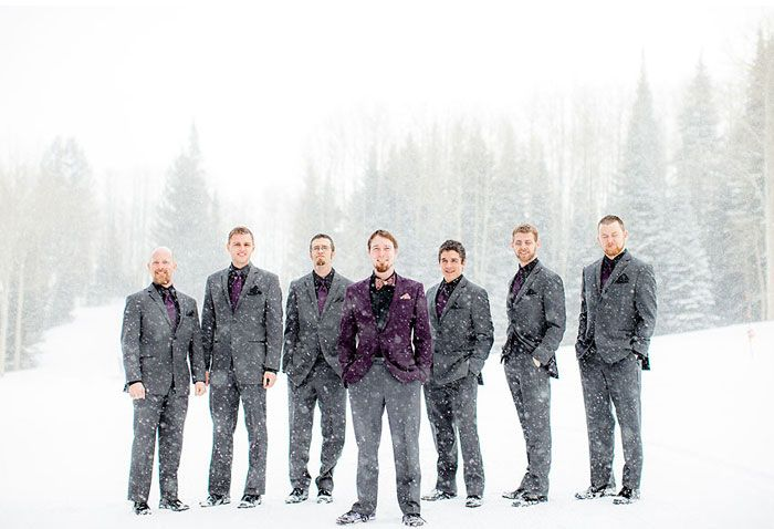 Winter wedding in snow From Amy Lashelle  http://www.itakeyou.co.uk/wedding/purple-winter-wedding-photography/  Winter wedding ideas,purple winter wedding themes,wedding in snow,bride and groom in snow,grooms and groomsmen in snow