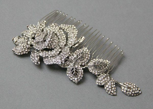 Glamorous Crystal Rose Comb,Bridal hair comb, Flower Wedding Comb, Wedding Rose Clip, Hair Adorment, Wedding Hair  - Style 252. $78.00, via Etsy.