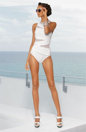 White classic bathing suite, heels & glasses fashion summer