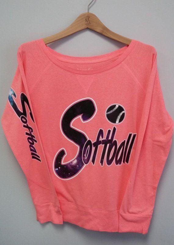 Long Sleeve Shirt Softball Galaxy Print by TomorrowTs on Etsy