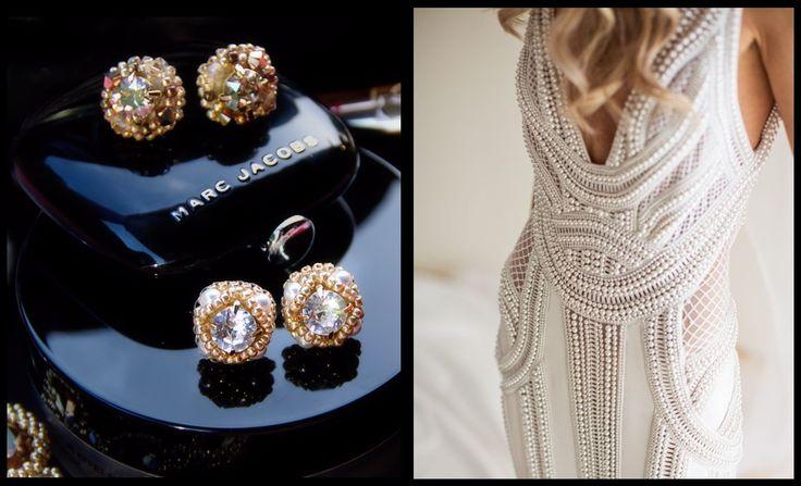 Swarovski pearl beaded stud earrings