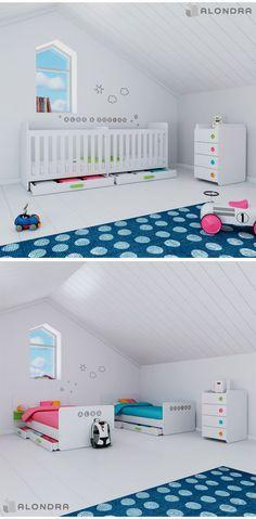 2 en 1 Cuna convertible de bebés gemelos, moderna y de diseño colección ORBIT de Alondra. 2-in-1 convertible crib for twins