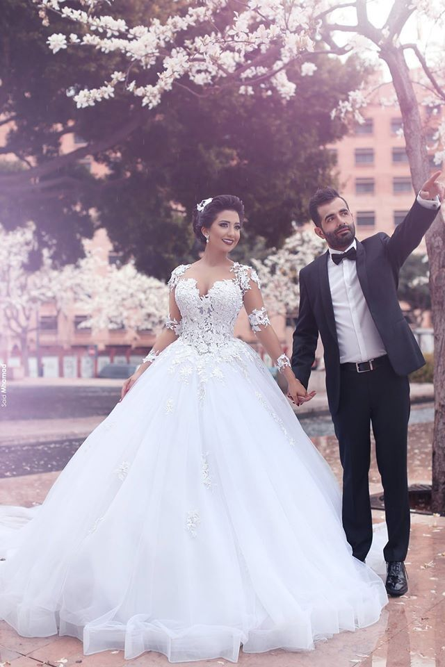 Said Mhamad Wedding Dresses ,Vestido De Noiva Princesa Long Sleeve Lace Wedding Dresses 2016 Ball Gown Organza Said Mhamad Bridal Gowns