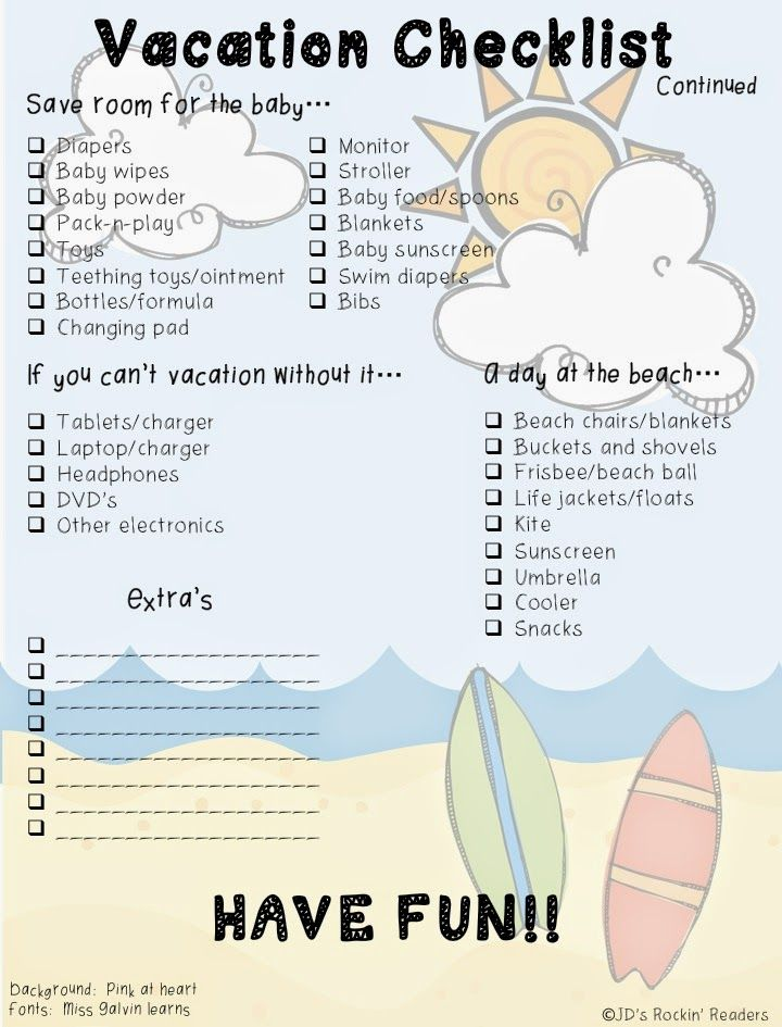 Best Vacation Checklist Images On   Travel Checklist