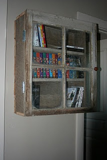 Barn Wood Cabinet---use for another old window -- to store all my magazines